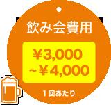 飲み会費用 ¥3,000~¥4,000 1回あたり