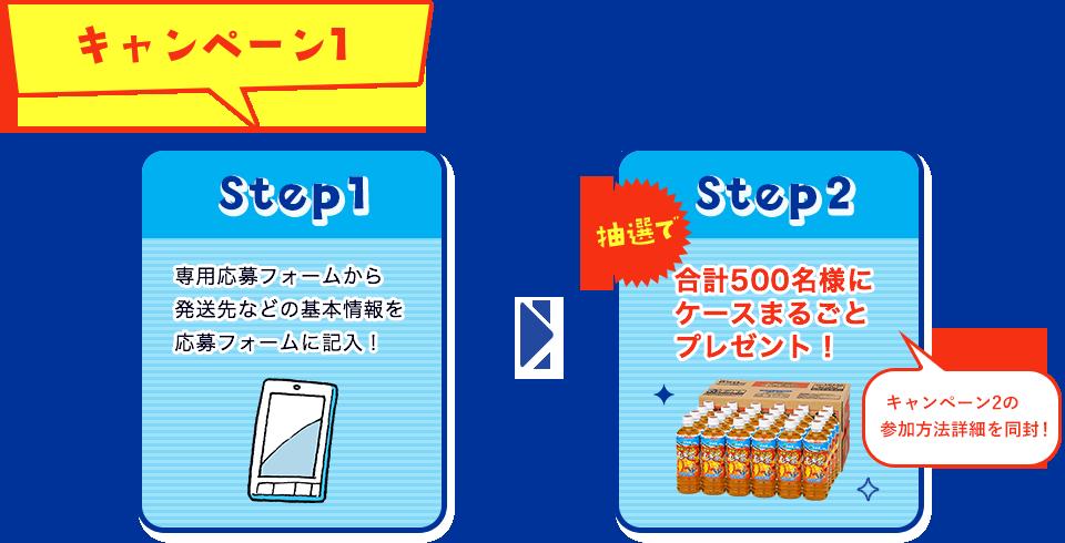 キャンペーン1  Step1:専用応募フォームから発送先などの基本情報を応募フォームに記入! Step2:抽選で合計500名様にケースまるごとプレゼント!