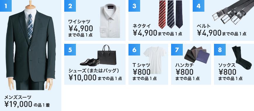 1 メンズスーツ¥19,000の品1着 2 ワイシャツ¥4,900までの品1点 3 ネクタイ¥4,900までの品1点 4 ベルト¥4,900までの品1点 5 シューズ(またはバッグ)¥10,000までの品1点 6 Tシャツ¥800までの品1点 7 ハンカチ¥800までの品1点 8 ソックス¥800までの品1点