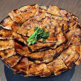 【デカ盛り】総重量約2kg! 完食できない挑戦者もでる大迫力。豚肉のうまみたっぷり豚丼『豚大学 神保町店』