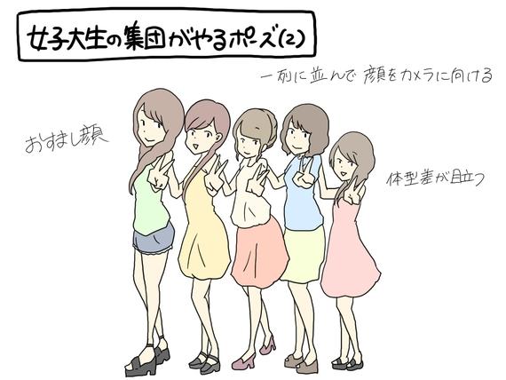 すれみの#1コマでわかる大学生vol.61「女子大生の集団がやるポーズ(2)」